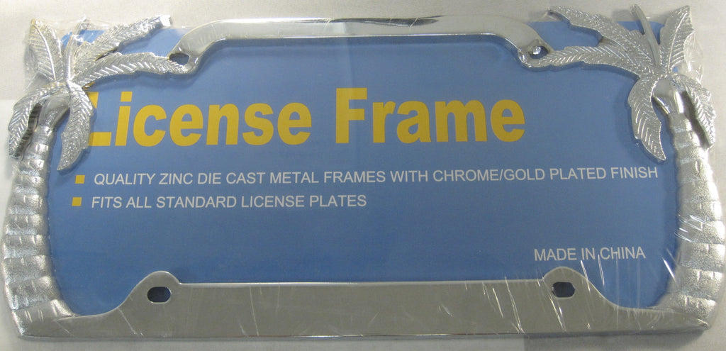 Chrome Tropical Palm Tree Metal License Plate Frame