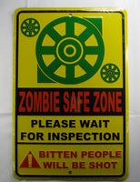 Zombie Safe Zone Apocalypse Bitten People Will Be Shot Aluminum Embossed License Plate