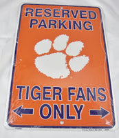 Clemson Tigers Fans Reserved Parking Sign Aluminum Embossed License Plate