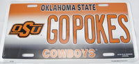 Go Pokes Oklahoma State Cowboys OU Aluminum Embossed License Plate