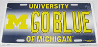 Go Blue Michigan State University Wolverines Aluminum Embossed License Plate