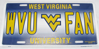 WVU Fan West Virginia Mountaineers University Aluminum Embossed License Plate