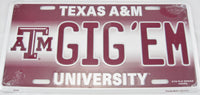ATM GIG'EM Texas A&M Aggies University Aluminum Embossed License Plate