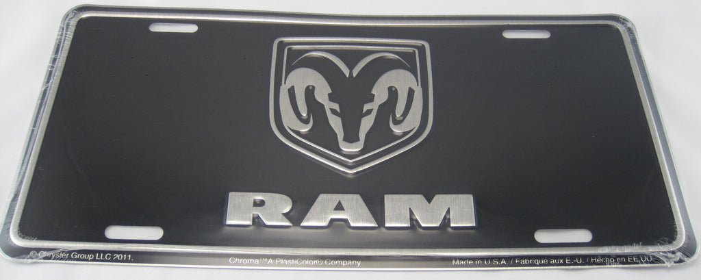 Dodge Ram Black and Chrome Aluminum Embossed License Plate New Sign
