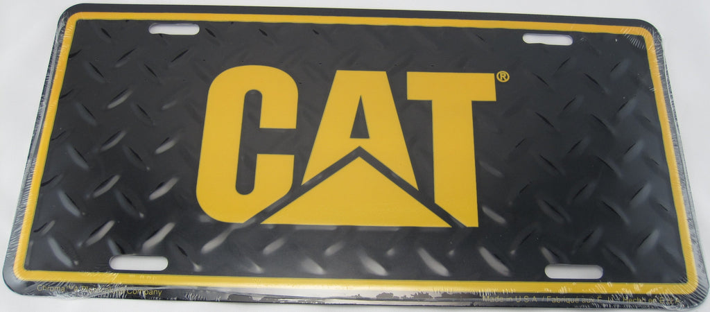 Caterpillar CAT Tractor Heavy Duty Diamond Plate Aluminum Embossed License Plate