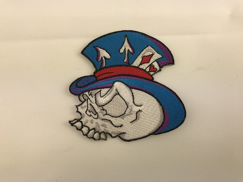 "3"" X 4"" Gambling Skull Top Hat Embroidered Patch"