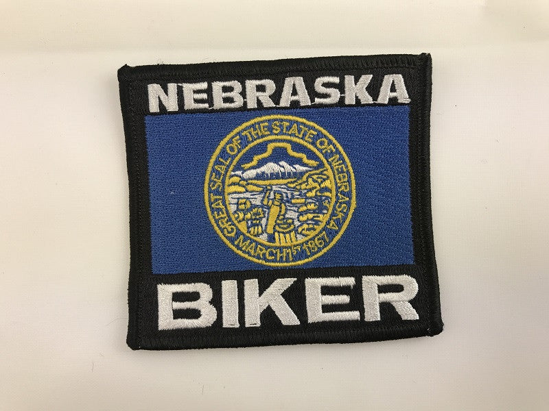 "3 1/4"" X 4"" Nebraska Biker Embroidered Patch"
