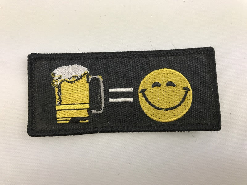 "1 1/2"" X 3 1/2"" Beer = Happy Embroidered Patch"