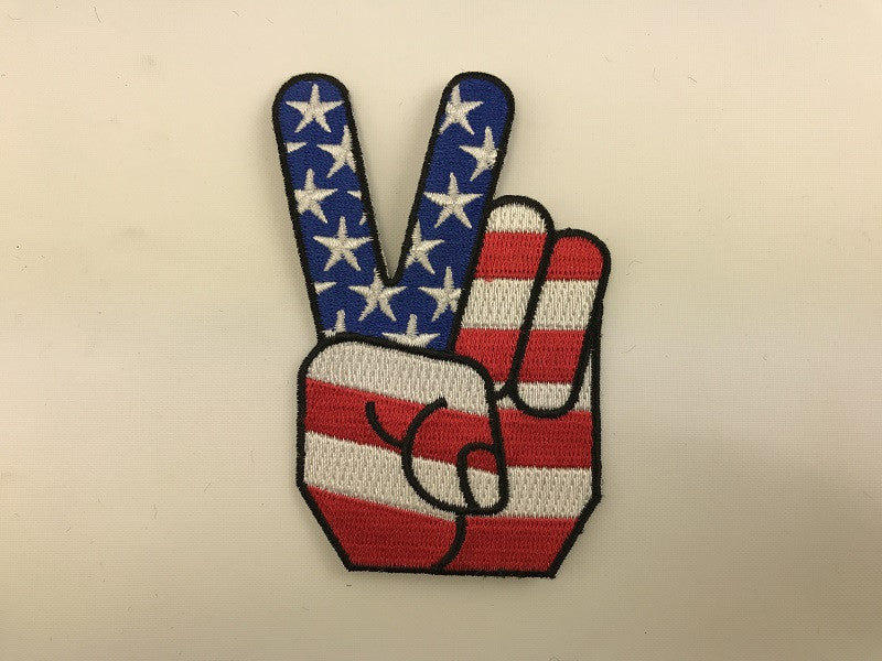 "2 1/2"" X 3 3/4""  Peace Fingers Unitesd States Flag Embroidered Patch"