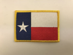 "2 1/4"" X 3 1/4"" Texas Flag with Gold Border Embroidered Patch"