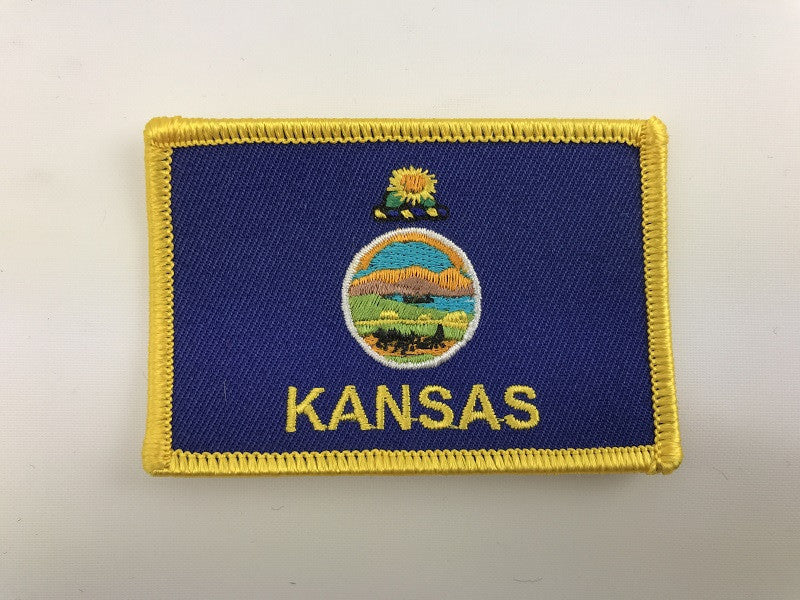 "2"" X 3""Kansas Flag with Gold Border Embroidered Patch"