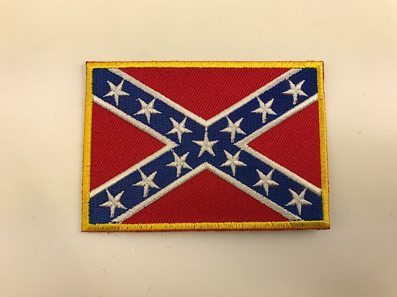 "2"" X 3"" Confederate Rebel Battle Flag With Gold Edge Embroidered Patch"