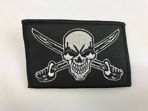 "2 1/2"" X 3 1/2"" Skull Grinning With Crossed Swords Embroidered Patch Pirate"