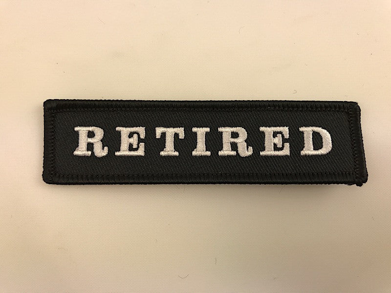 "1"" X 4"" RETIRED Patch (Black with White Lettering) Embroidered Patch"