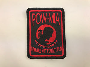 "2 1/4"" X 3"" POW-MIA You Are Not Forgotten Patch with Red Lettering Embroidered Patch"