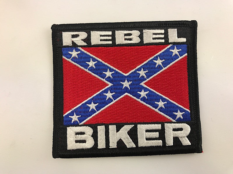 "3 1/4"" X 3 1/2"" Rebel Biker Confederate Flag Embroidered Patch"