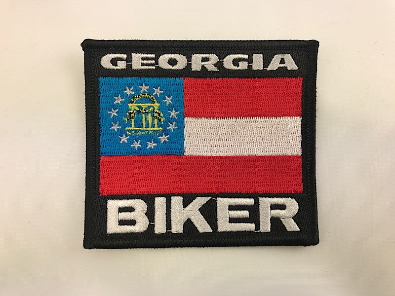 "3 1/4"" X 3 1/2"" Georgia Biker Flag Embroidered Patch"