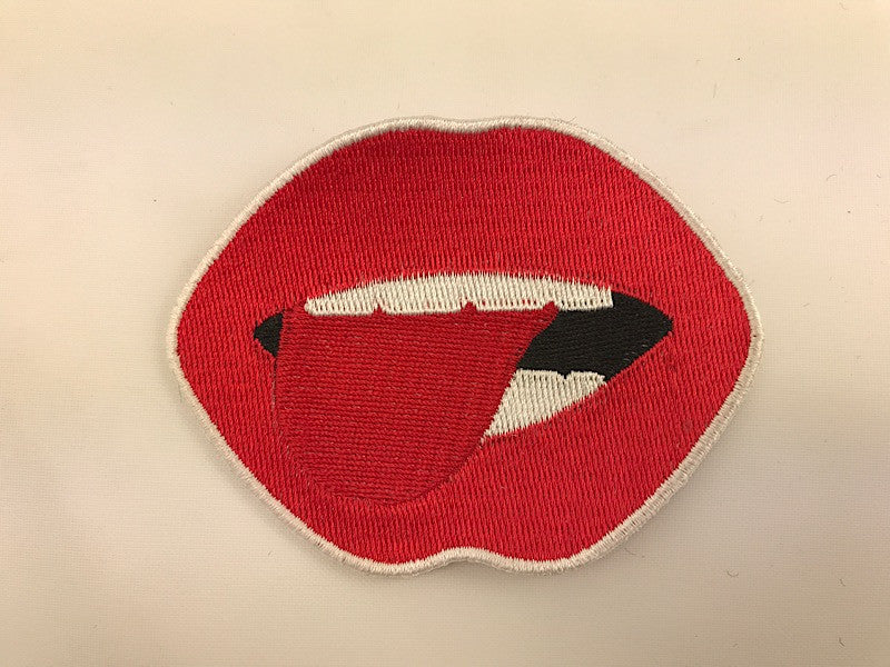 "2 3/4"" X 3 1/2"" Licking Red Lips Embroidered Patch"