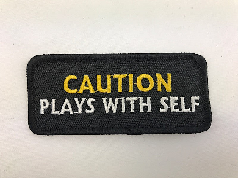 "1 1/2"" X 3 1/2"" Caution Plays With Self Embroidered Patch"