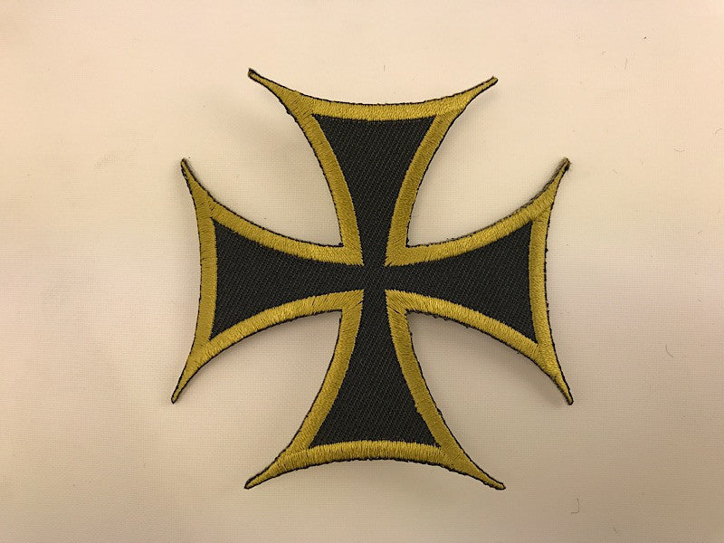 "3"" X 3"" Bronze Iron Cross Embroidered Patch"