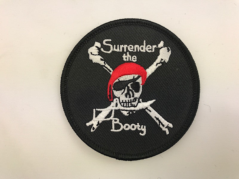 "3"" Surrender The Booty Pirate Crossbones Embroidered Patch"