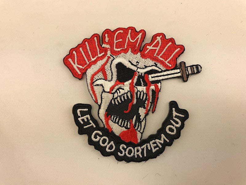 "2 3/4"" X 3"" Kill'Em All Let God Sort'em Out Embroidered Patch Skull Dagger"