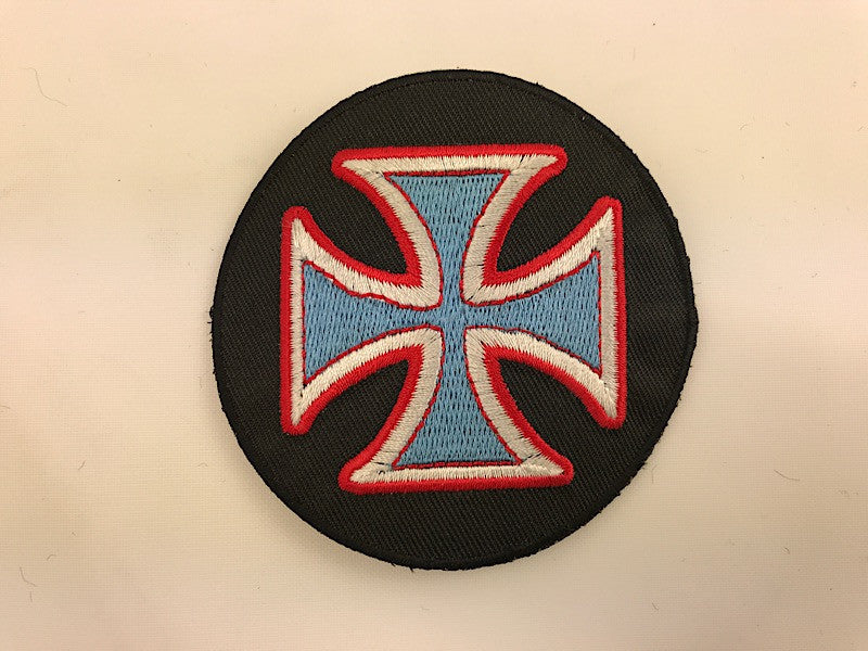 "3"" Iron Cross Black Background with Blue Cross Embroidered Patch"
