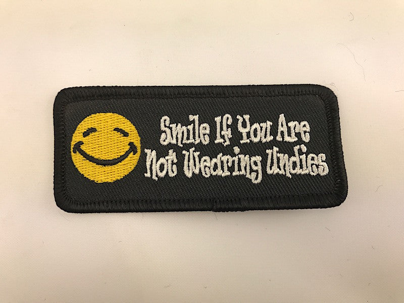 "1 1/2"" X 3 1/2"" Smile If You Are Not Wearing Undies Embroidered Patch Smiley Face"