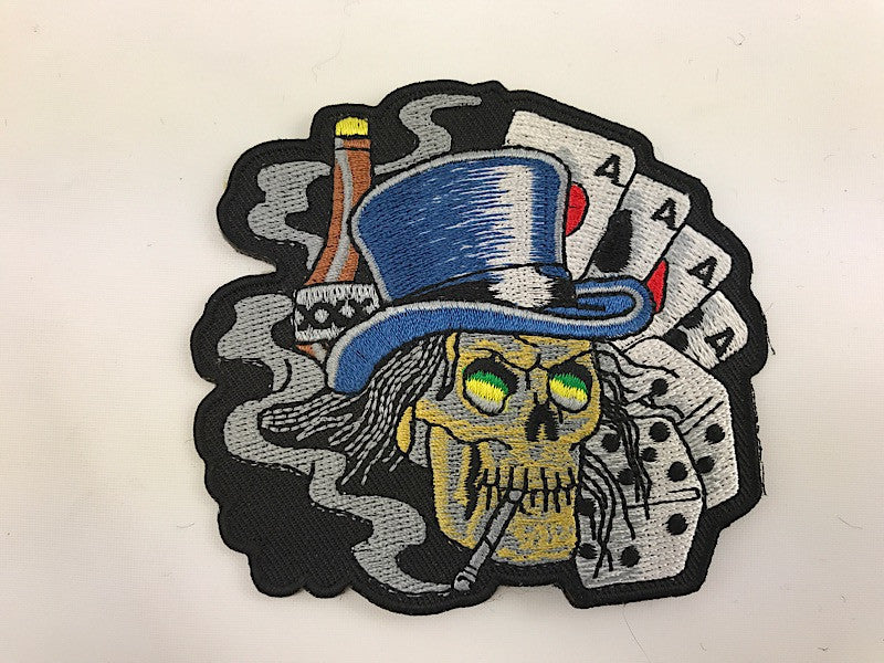 "3 1/4"" X 3 1/2"" Gambling Skull With Top Hat and Cards Dice Booze Embroidered Patch"