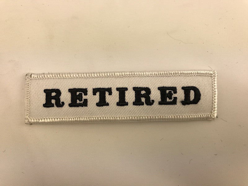 "1"" X 4"" Retired White With Black Lettering Embroidered Patch"