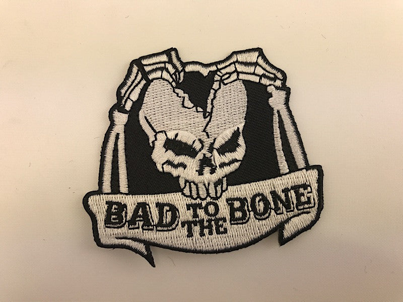 "2 3/4"" X 2 3/4"" Bad To The Bone Skull Embroidered Patch"