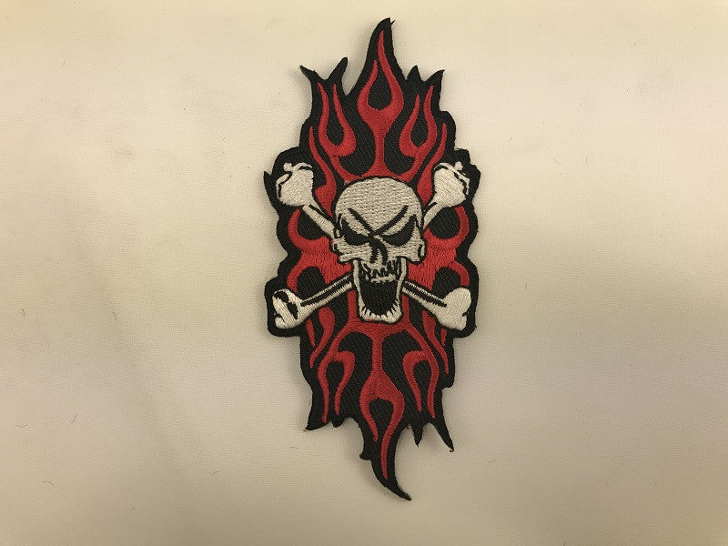 "1 1/2"" X 4 1/2"" Skull With Tribal Flames Embroidered Patch"