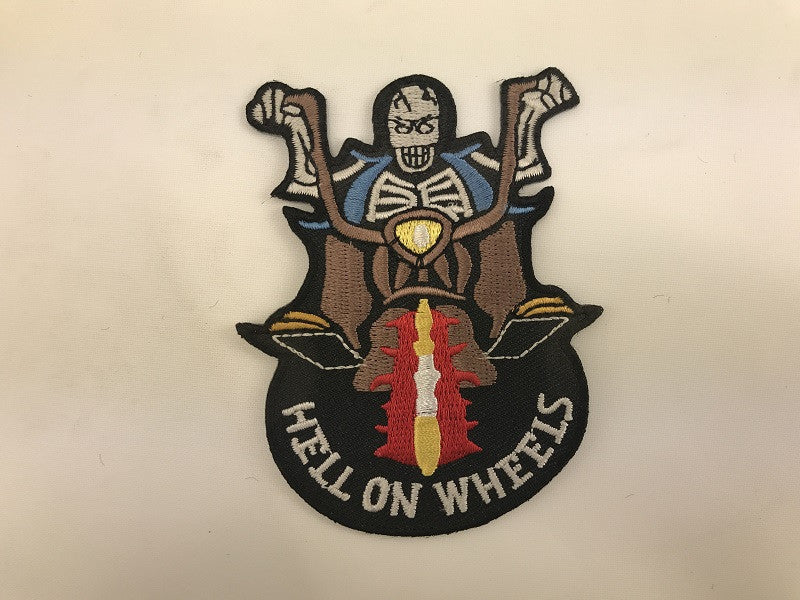 "3"" X 3 1/2"" Hell On Wheels Skeleton Biker Embroidered Patch"