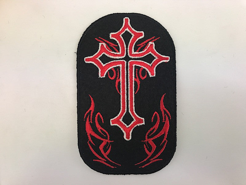 "2 1/2"" X 4"" Cross With Red Flames Embroidered Patch"