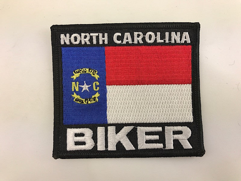 "3 1/4"" X 3 1/2"" North Carolina Biker Flag Embroidered Patch"