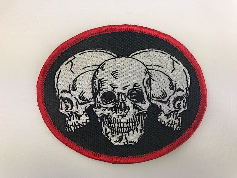 "3"" X 3 1/2"" Triple Skulls Embroidered Patch"