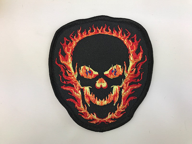 "4"" X 4"" Burning Skull Embroidered Patch"
