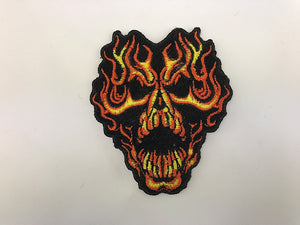 "2 1/2"" X 3"" Flaming Skull Embroidered Patch"