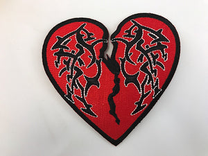 "4"" Tribal Heart Break Embroidered Patch"