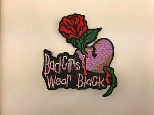 "2 1/2"" X 2 3/4"" Bad Girls Wear Black Embroidered Patch"