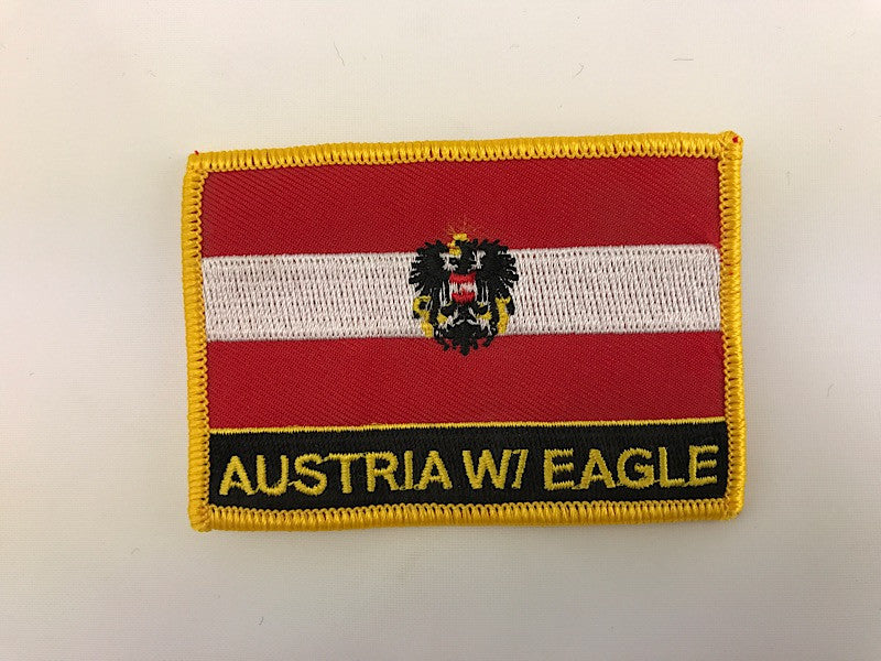 "2 1/4"" X 3"" Austria W/ Eagle Flag Embroidered Patch"