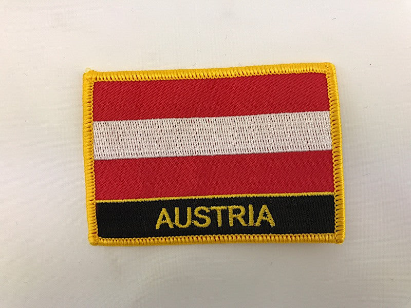 "2 1/4"" X 3"" Austria Flag Embroidered Patch"