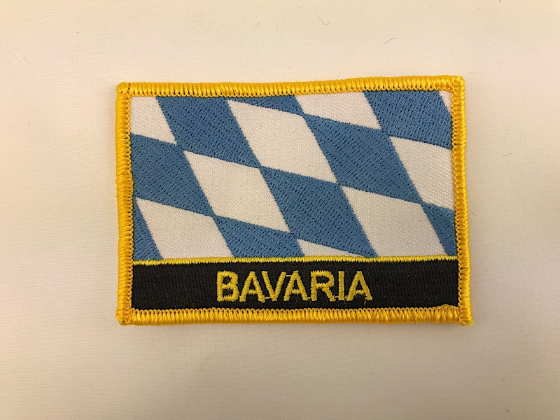 "2 1/4"" X 3"" Bavaia Flag Embroidered Patch"