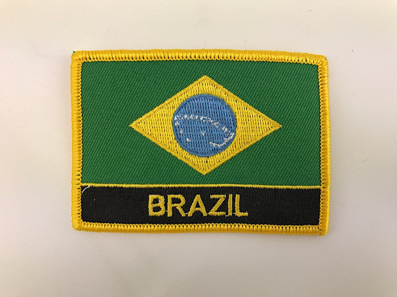 "2 1/4"" X 3"" Brazil Flag Embroidered Patch"