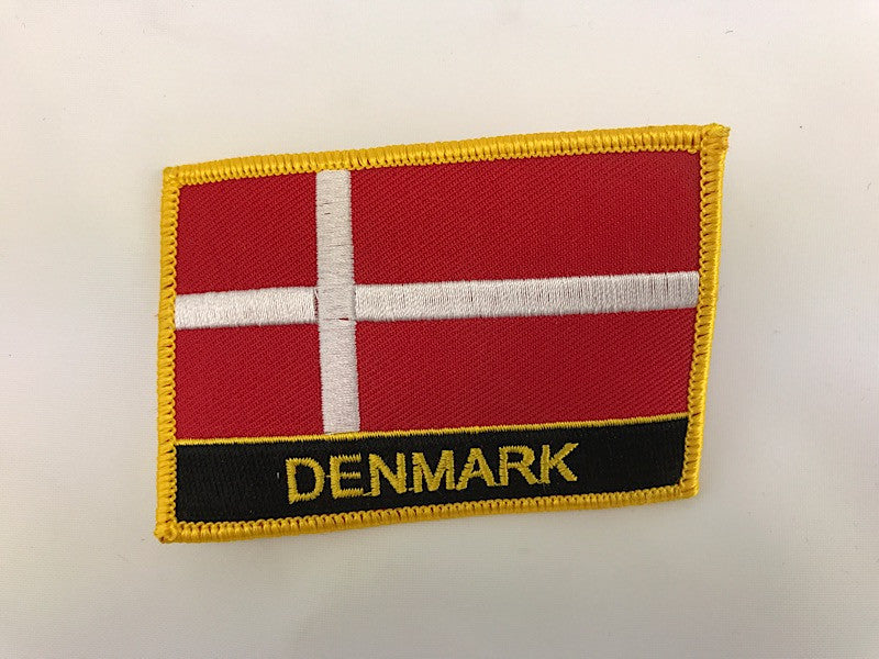 "2 1/4"" X 3"" Denmark Flag Embroidered Patch"