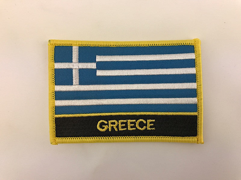 "2 1/4"" X 3"" Greece Flag Embroidered Patch"