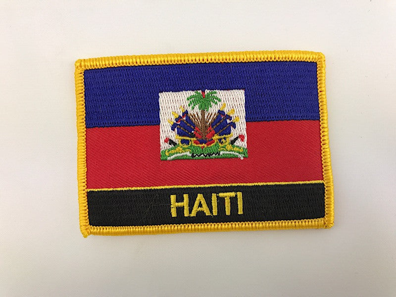 "2 1/4"" X 3"" Haiti Flag Embroidered Patch"