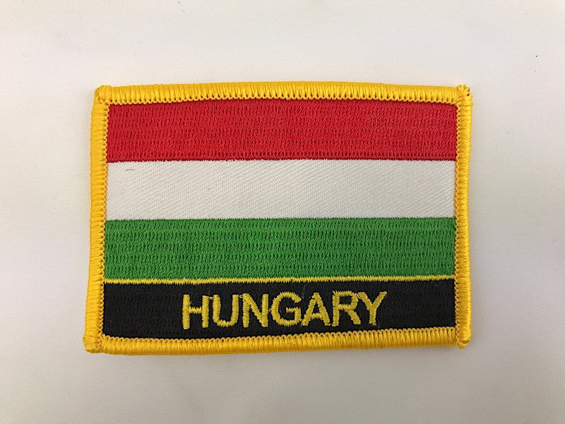 "2 1/4"" X 3"" Hungary Flag Embroidered Patch"