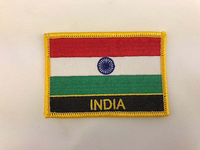 "2 1/4"" X 3"" India Flag Embroidered Patch"