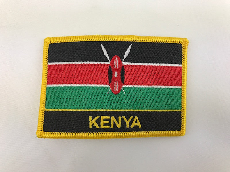 "2 1/4"" X 3"" Kenya Flag Embroidered Patch"
